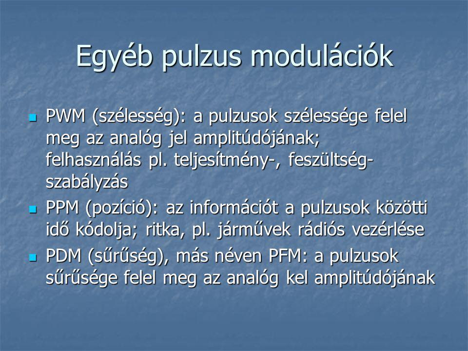 Egyéb pulzus modulációk  PWM (szélesség): a pulzusok szélessége felel meg az analóg jel amplitúdójának; felhasználás pl. teljesítmény-, feszültség- s