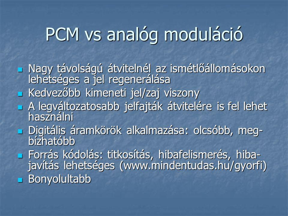 PCM vs analóg moduláció  Nagy távolságú átvitelnél az ismétlőállomásokon lehetséges a jel regenerálása  Kedvezőbb kimeneti jel/zaj viszony  A legvá