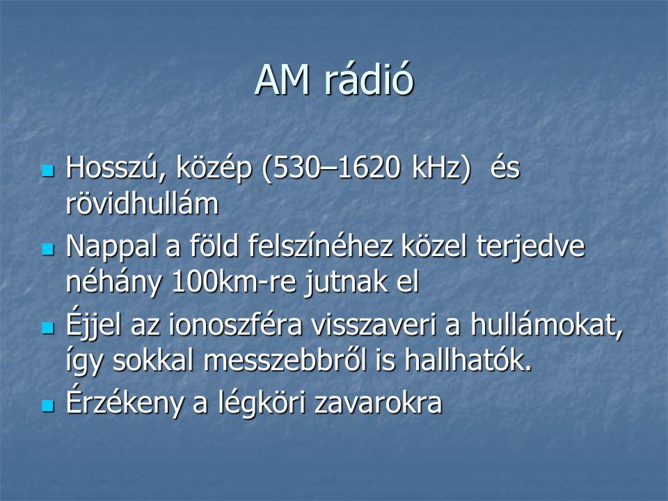 AM rádió  Hosszú, közép (530–1620 kHz) és rövidhullám  Nappal a föld felszínéhez közel terjedve néhány 100km-re jutnak el  Éjjel az ionoszféra viss