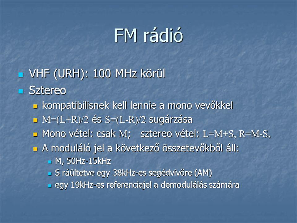 FM rádió  VHF (URH): 100 MHz körül  Sztereo  kompatibilisnek kell lennie a mono vevőkkel  M=(L+R)/2 és S=(L-R)/2 sugárzása  Mono vétel: csak M ;
