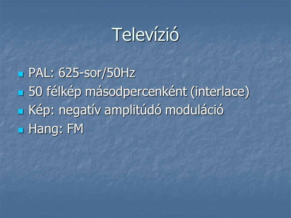 Televízió  PAL: 625-sor/50Hz  50 félkép másodpercenként (interlace)  Kép: negatív amplitúdó moduláció  Hang: FM