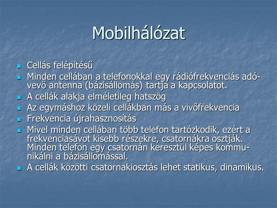 Mobilhálózat  Cellás felépítésű  Minden cellában a telefonokkal egy rádiófrekvenciás adó- vevő antenna (bázisállomás) tartja a kapcsolatot.  A cell
