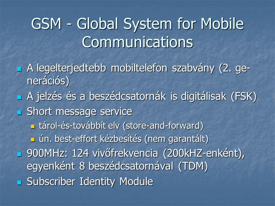 GSM - Global System for Mobile Communications  A legelterjedtebb mobiltelefon szabvány (2. ge- nerációs)  A jelzés és a beszédcsatornák is digitális