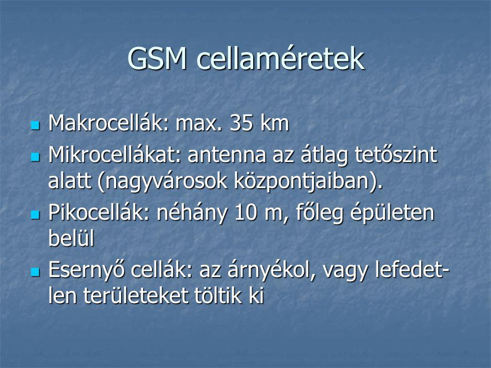 GSM cellaméretek  Makrocellák: max. 35 km  Mikrocellákat: antenna az átlag tetőszint alatt (nagyvárosok központjaiban).  Pikocellák: néhány 10 m, f