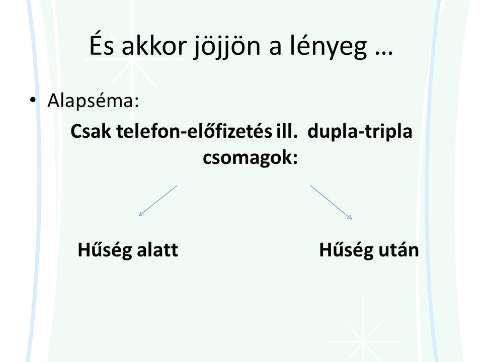 És akkor jöjjön a lényeg … • Alapséma: Csak telefon-előfizetés ill.