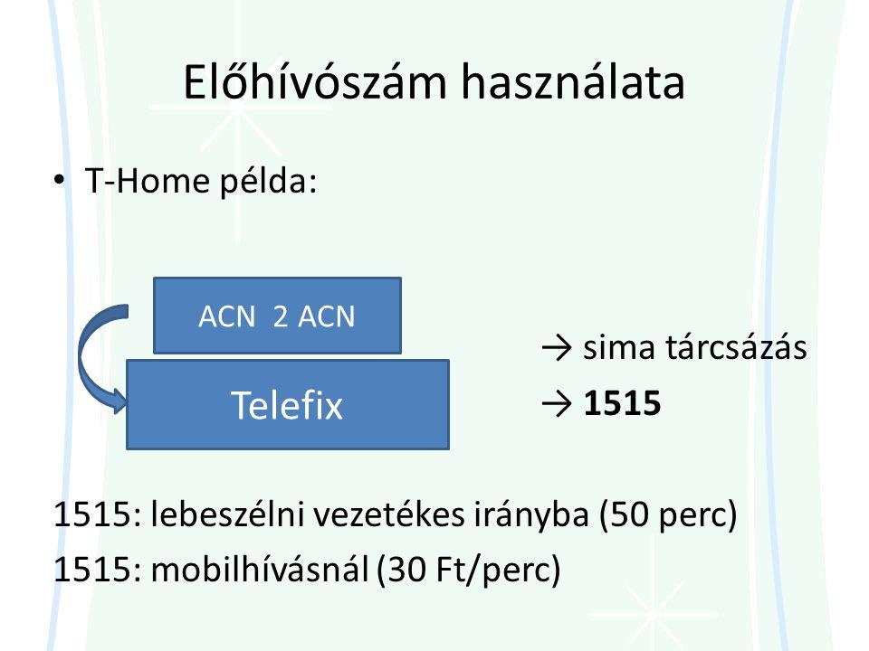 Előhívószám használata • T-Home példa: → sima tárcsázás → 1515 1515: lebeszélni vezetékes irányba (50 perc) 1515: mobilhívásnál (30 Ft/perc) Telefix ACN 2 ACN