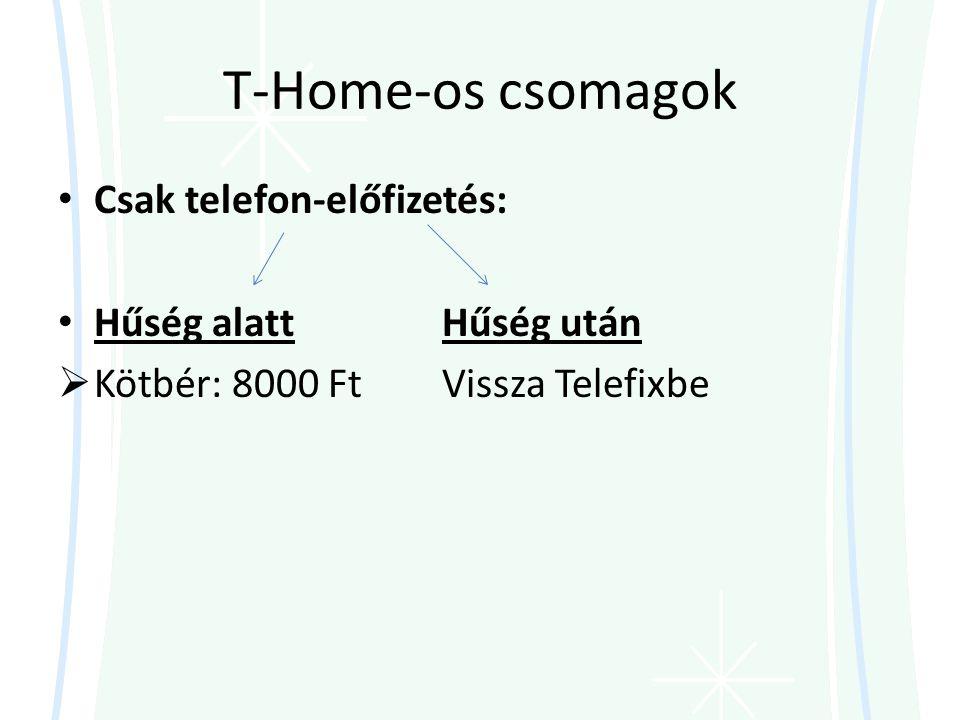 T-Home-os csomagok • Csak telefon-előfizetés: • Hűség alattHűség után  Kötbér: 8000 FtVissza Telefixbe