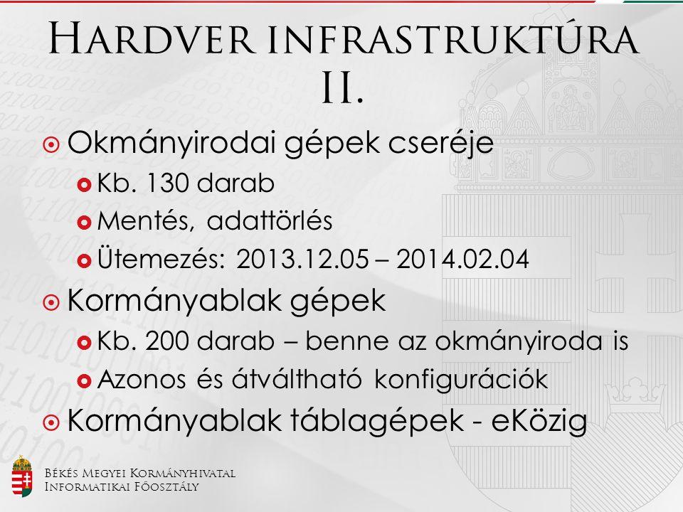 Békés Megyei Kormányhivatal Informatikai Főosztály Hardver infrastruktúra II.  Okmányirodai gépek cseréje  Kb. 130 darab  Mentés, adattörlés  Ütem