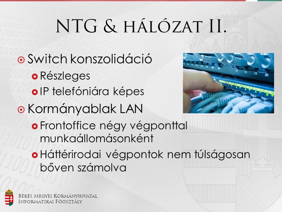 Békés Megyei Kormányhivatal Informatikai Főosztály NTG & hálózat II.  Switch konszolidáció  Részleges  IP telefóniára képes  Kormányablak LAN  Fr