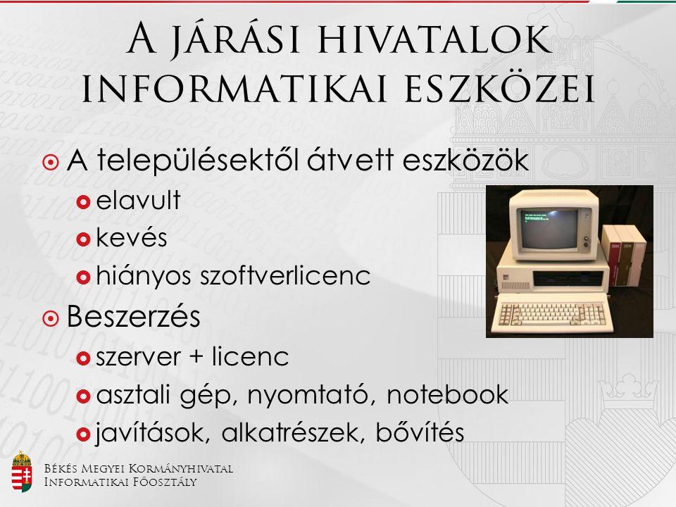 Békés Megyei Kormányhivatal Informatikai Főosztály A járási hivatalok szoftverkörnyezete  MS Windows/MS Office  NISZ Zrt.