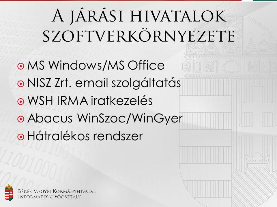 Békés Megyei Kormányhivatal Informatikai Főosztály A járási hivatalok szoftverkörnyezete  MS Windows/MS Office  NISZ Zrt. email szolgáltatás  WSH I