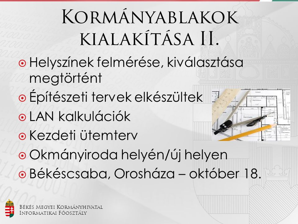 Békés Megyei Kormányhivatal Informatikai Főosztály Kormányablakok kialakítása II.  Helyszínek felmérése, kiválasztása megtörtént  Építészeti tervek