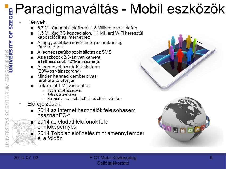 Paradigmaváltás - Mobil eszközök •Tények: ■6,7 Milliárd mobil előfizető, 1.3 Milliárd okos telefon ■1,3 Milliárd 3G kapcsolaton, 1.1 Milliárd WiFi keresztül kapcsolódik az Internethez ■A leggyorsabban növő iparág az emberiség történetében ■A legnépszerűbb szolgáltatás az SMS ■Az eszközök 2/3-án van kamera, a felhasználók 72%-a használja ■A legnagyobb hirdetési platform (29%-os válaszarány) ■Minden harmadik ember olvas híreket a telefonján ■Több mint 1 Milliárd ember: –Tölt le alkalmazásokat –Játszik a telefonon –Használja a szociális háló alapú alkalmazásokra •Előrejelzések: ■2014 az Internet használók fele sohasem használt PC-t ■2014 az eladott telefonok fele érintőképernyős ■2014 Több az előfizetés mint amennyi ember él a földön 2014.