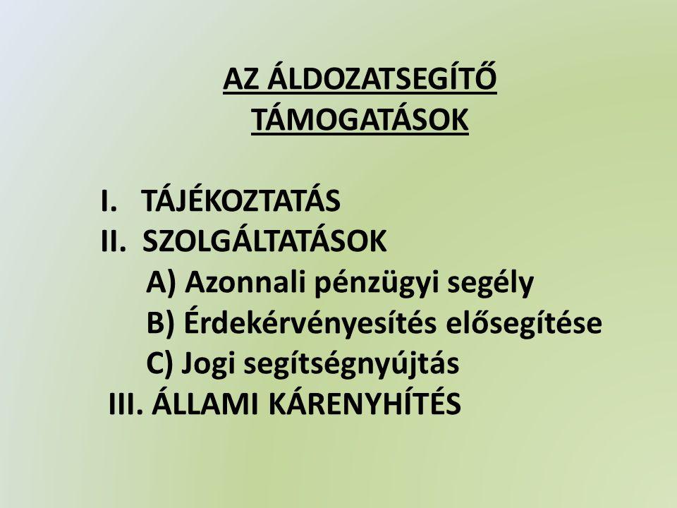 AZ ÁLDOZATSEGÍTŐ TÁMOGATÁSOK I. TÁJÉKOZTATÁS II.