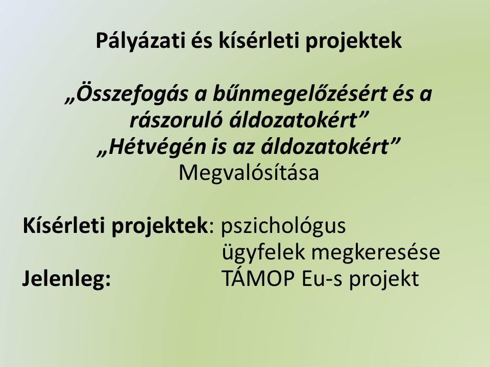 """Pályázati és kísérleti projektek """"Összefogás a bűnmegelőzésért és a rászoruló áldozatokért """"Hétvégén is az áldozatokért Megvalósítása Kísérleti projektek: pszichológus ügyfelek megkeresése Jelenleg: TÁMOP Eu-s projekt"""