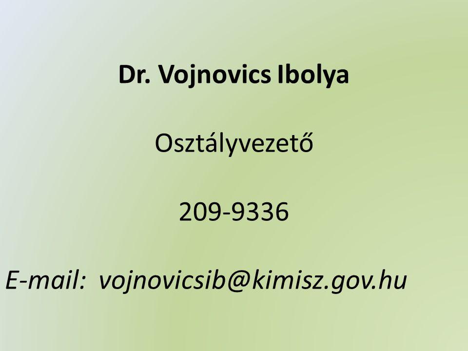 Dr. Vojnovics Ibolya Osztályvezető 209-9336 E-mail: vojnovicsib@kimisz.gov.hu