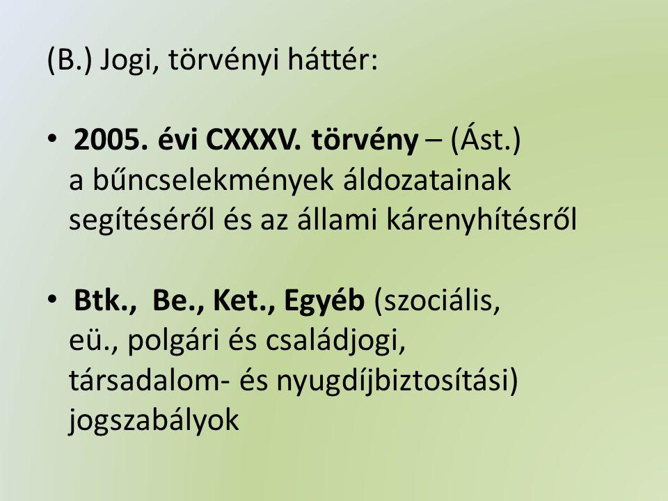 (B.) Jogi, törvényi háttér: • 2005. évi CXXXV.