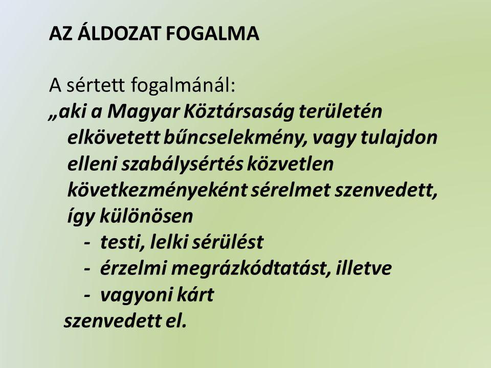 AZ ÁLDOZATSEGÍTŐ TÁMOGATÁSOK I.TÁJÉKOZTATÁS II.