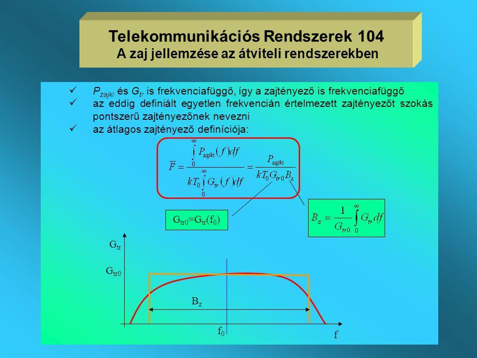  a zajos lineáris kétkapu zaj szempontból a zajtényezővel is jellemezhető  zajtényezőt rendszerint dB-ben adják meg F dB =10lg(F)  a zajtényező a l