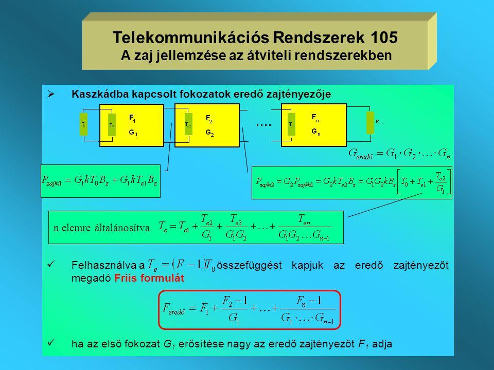  P zajki és G tr is frekvenciafüggő, így a zajtényező is frekvenciafüggő  az eddig definiált egyetlen frekvencián értelmezett zajtényezőt szokás pon