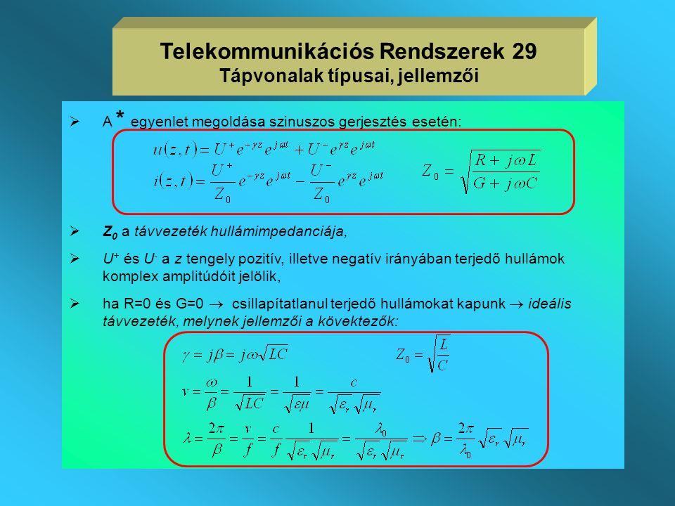  szinuszos gerjesztés esetén vizsgáljuk a távvezetéket,  ismertnek tekintjük az R,L,G,C hosszegységre vonatkozó jellemzőket,  a távíró egyenleteket