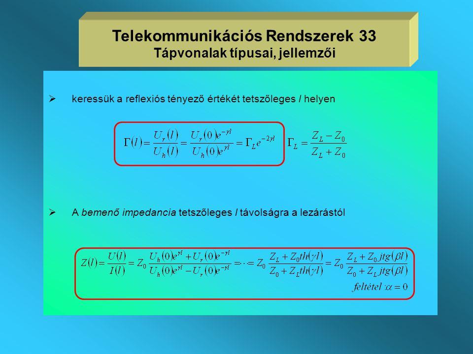 A tápvonal, mint áramköri elem vizsgálata  a tápvonalat rendszerint az alábbi elrendezésben vizsgáljuk  a Z L lezárásnál a feszültségek és az áramok