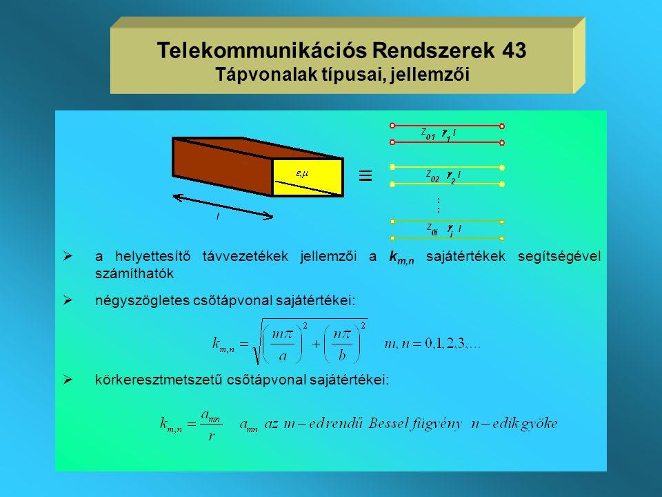 CSŐTÁPVONALAK  Ideális vezető fémfallal határolt hullámvezető,  keresztmetszete egyszeresen összefüggő,  lineáris, homogén, izotróp, veszteségmente