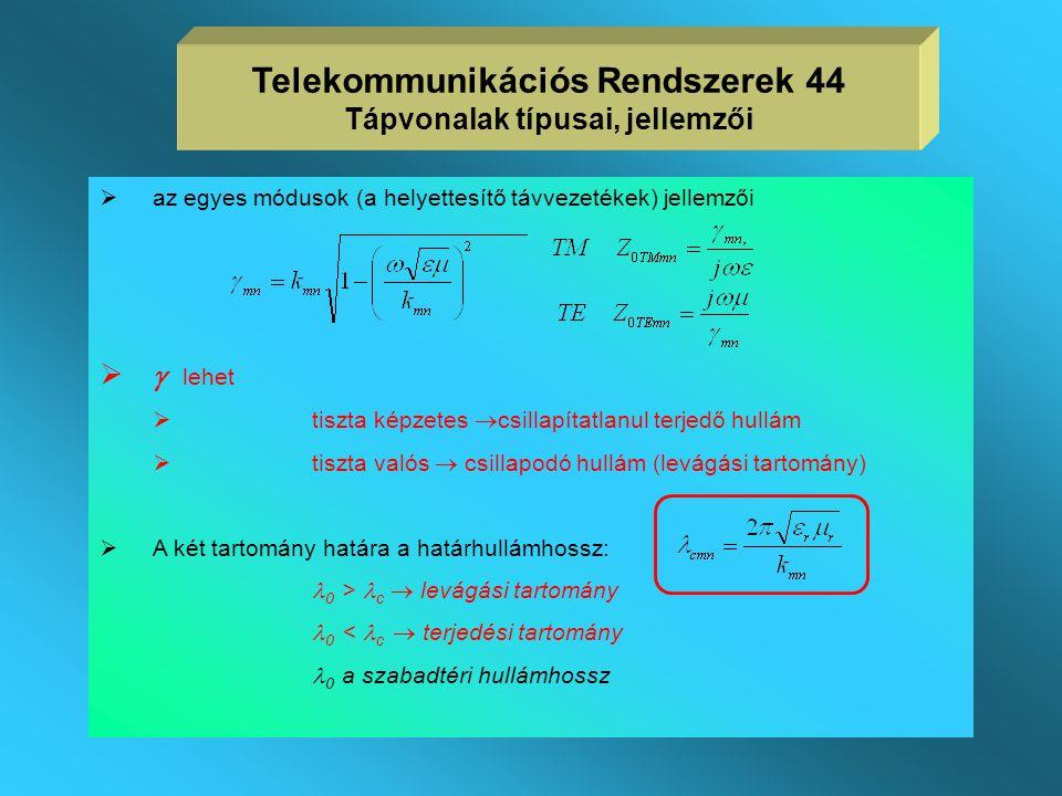  a helyettesítő távvezetékek jellemzői a k m,n sajátértékek segítségével számíthatók  négyszögletes csőtápvonal sajátértékei:  körkeresztmetszetű c