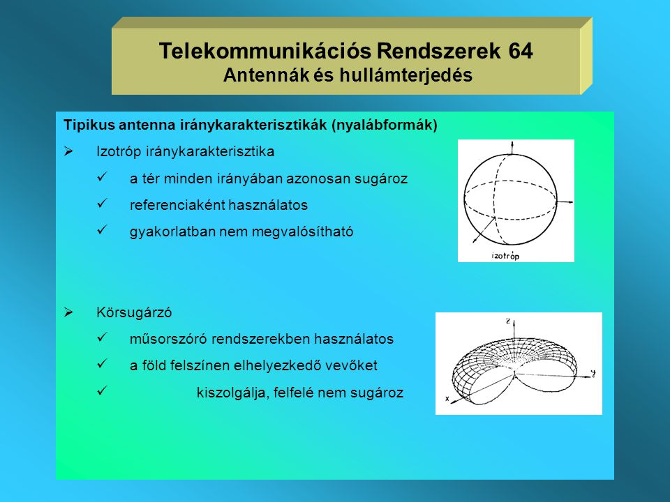 Az iránykarakterisztika mérése Telekommunikációs Rendszerek 63 Antennák és hullámterjedés