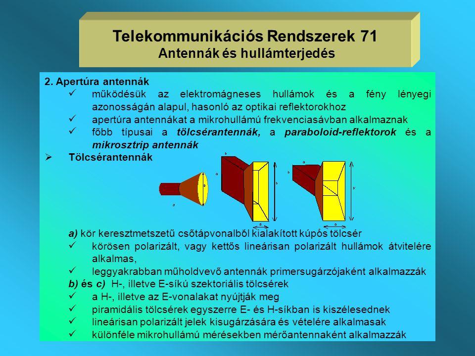 Antenna típusok 1. Huzalantennák  Egyszerű alakú, állandó keresztmetszetű vezetőből kialakított antennák  Hosszméretük a hullámhosszal összemérhető