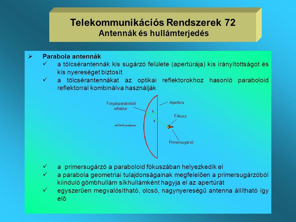 2. Apertúra antennák  működésük az elektromágneses hullámok és a fény lényegi azonosságán alapul, hasonló az optikai reflektorokhoz  apertúra antenn