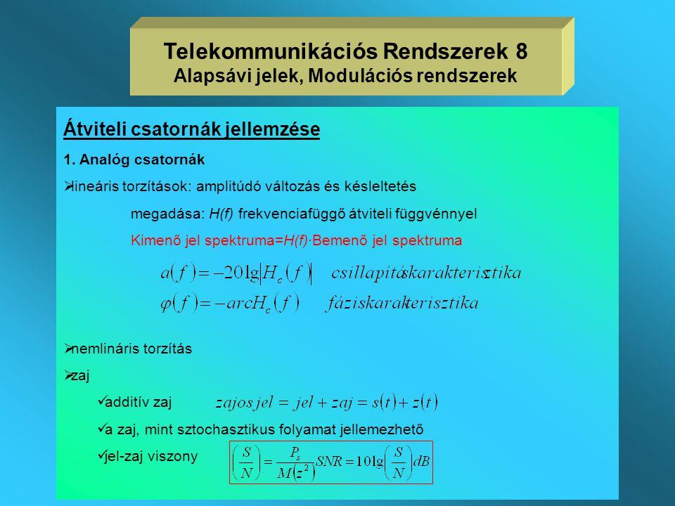 Négyszögletes csőtápvonal határhullámhosszai:  a határhullámhosszak az a és b méretektől függnek  példaképpen egy a=58, b=29 mm méretű négyszögletes csőtápvonal határhullámhosszai  a TE 10 módus határhullámhossza 2a, a TE 20 módusé a így az üzemi hullámhossz tartomány elvileg 2a>  0 >a  a TE 01 módus határhullámhossza 2b, így szükséges, hogy  0 >2b legyen Telekommunikációs Rendszerek 48 Tápvonalak típusai, jellemzői MódusHatárhullámhossz TE 10 116,0 mm TM 11 51,9 mm TE 11 51,9 mm TM 21 41,0 mm