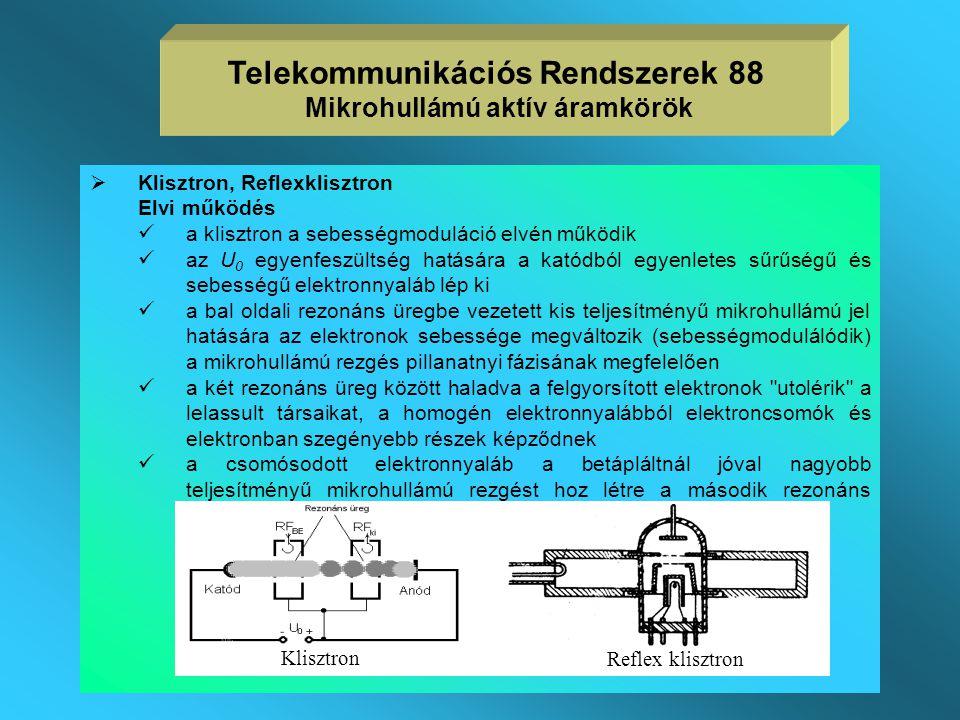 Gyakorlati jellemzők  a magnetron a rezgő üregek mérete által meghatározott közel állandó frekvencián működik, frekvencia pontossága nem nagy, neheze