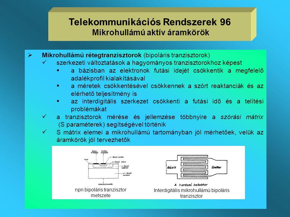 Tranzisztorok  a tranzisztorok egyre szélesebb körben elterjednek a mikrohullámú tartományban is  a gyakorlatban távközlési célokra használt mikrohu