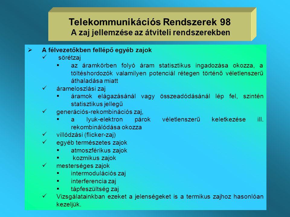 A termikus zaj  Alapfogalmak  a híradástechnikában használt eszközeink elektromos jeleihez vagy az általuk keltett és vett elektromágneses hullámokh