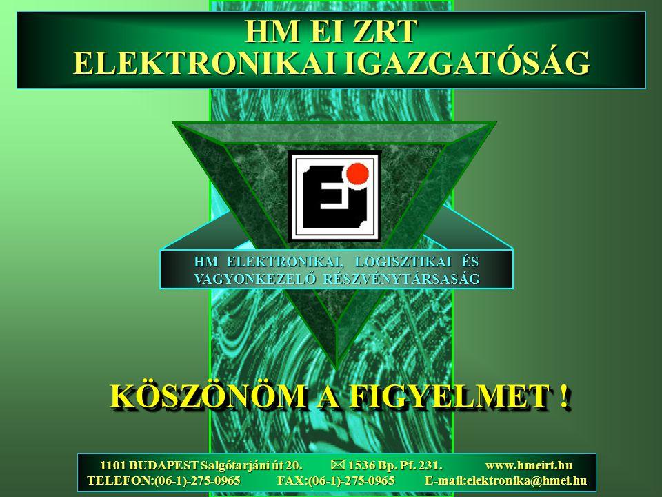 HM ELEKTRONIKAI, LOGISZTIKAI ÉS VAGYONKEZELŐ RÉSZVÉNYTÁRSASÁG 1101 BUDAPEST Salgótarjáni út 20.  1536 Bp. Pf. 231. www.hmeirt.hu TELEFON:(06-1)-275-0