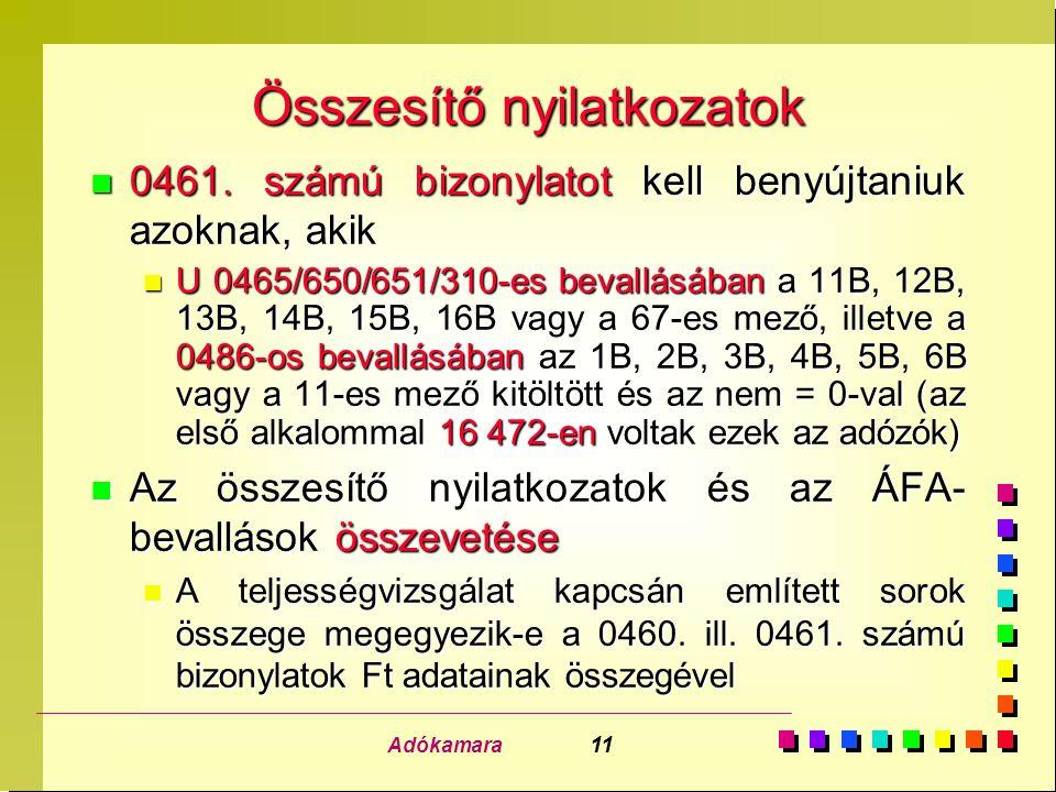 Adókamara 11 Összesítő nyilatkozatok n 0461. számú bizonylatot kell benyújtaniuk azoknak, akik n U 0465/650/651/310-es bevallásában a 11B, 12B, 13B, 1