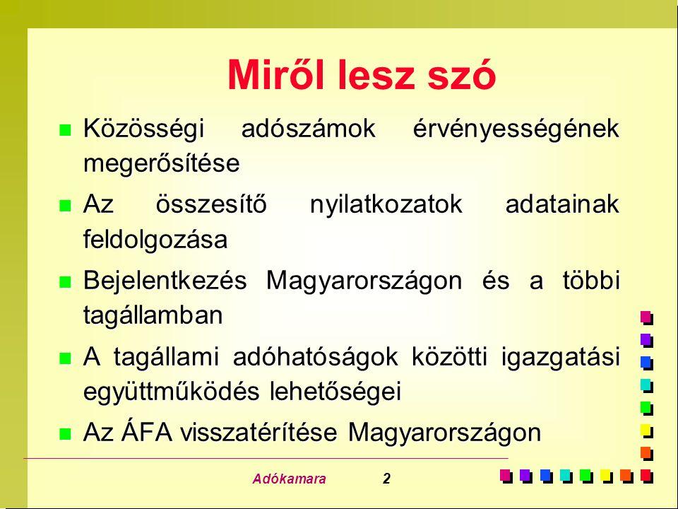 Adókamara 2 Miről lesz szó n Közösségi adószámok érvényességének megerősítése n Az összesítő nyilatkozatok adatainak feldolgozása n Bejelentkezés Magyarországon és a többi tagállamban n A tagállami adóhatóságok közötti igazgatási együttműködés lehetőségei n Az ÁFA visszatérítése Magyarországon