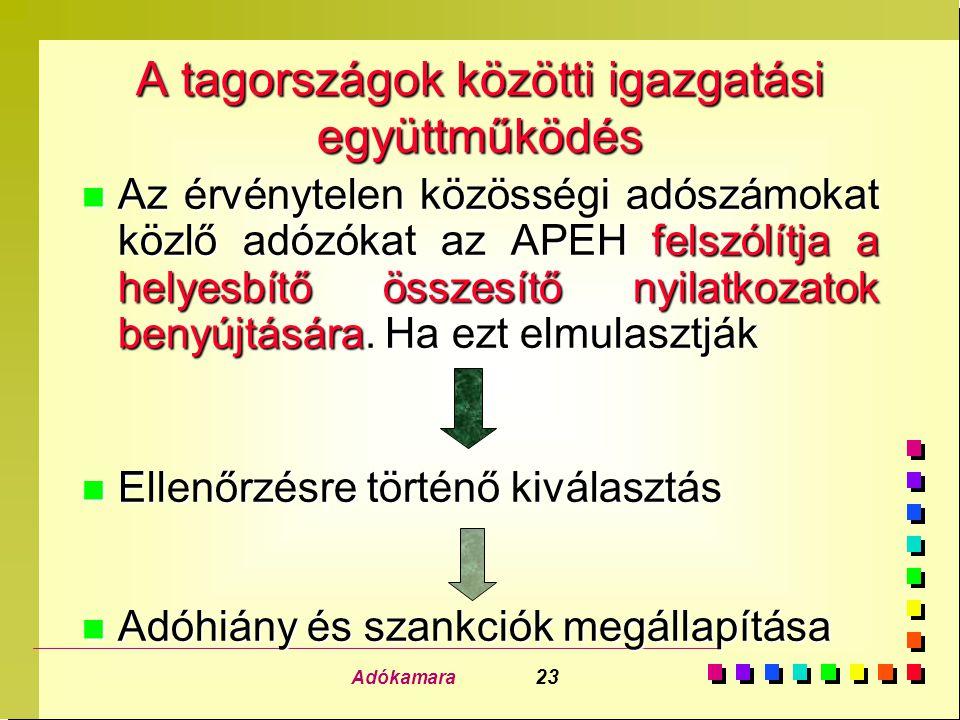 Adókamara 23 A tagországok közötti igazgatási együttműködés n Az érvénytelen közösségi adószámokat közlő adózókat az APEH felszólítja a helyesbítő öss