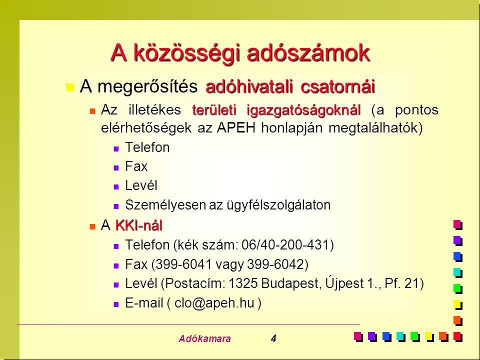 Adókamara 4 A közösségi adószámok n A megerősítés adóhivatali csatornái n Az illetékes területi igazgatóságoknál (a pontos elérhetőségek az APEH honla