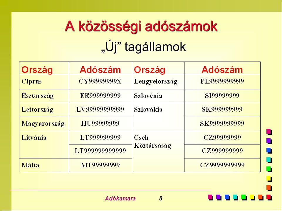 Adókamara 19 A tagországok közötti igazgatási együttműködés n Egy konkrét magyar adózó egy adott tagállambeli valamennyi üzletfelétől végzett termékbeszerzése.