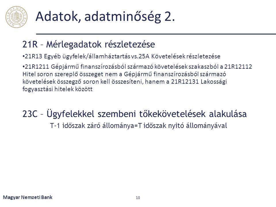 Adatok, adatminőség 2. 21R – Mérlegadatok részletezése • 21R13 Egyéb ügyfelek/államháztartás vs.25A Követelések részletezése • 21R1211 Gépjármű finans