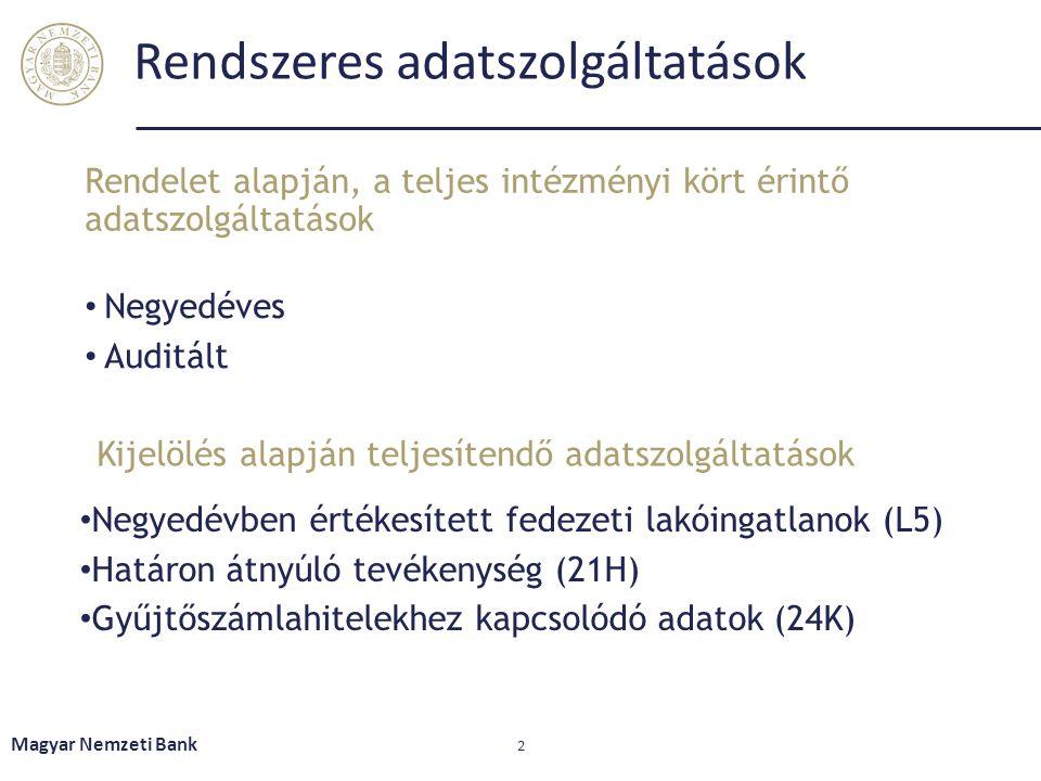 Rendszeres adatszolgáltatások • Negyedéves • Auditált Rendelet alapján, a teljes intézményi kört érintő adatszolgáltatások Magyar Nemzeti Bank 2 Kijel