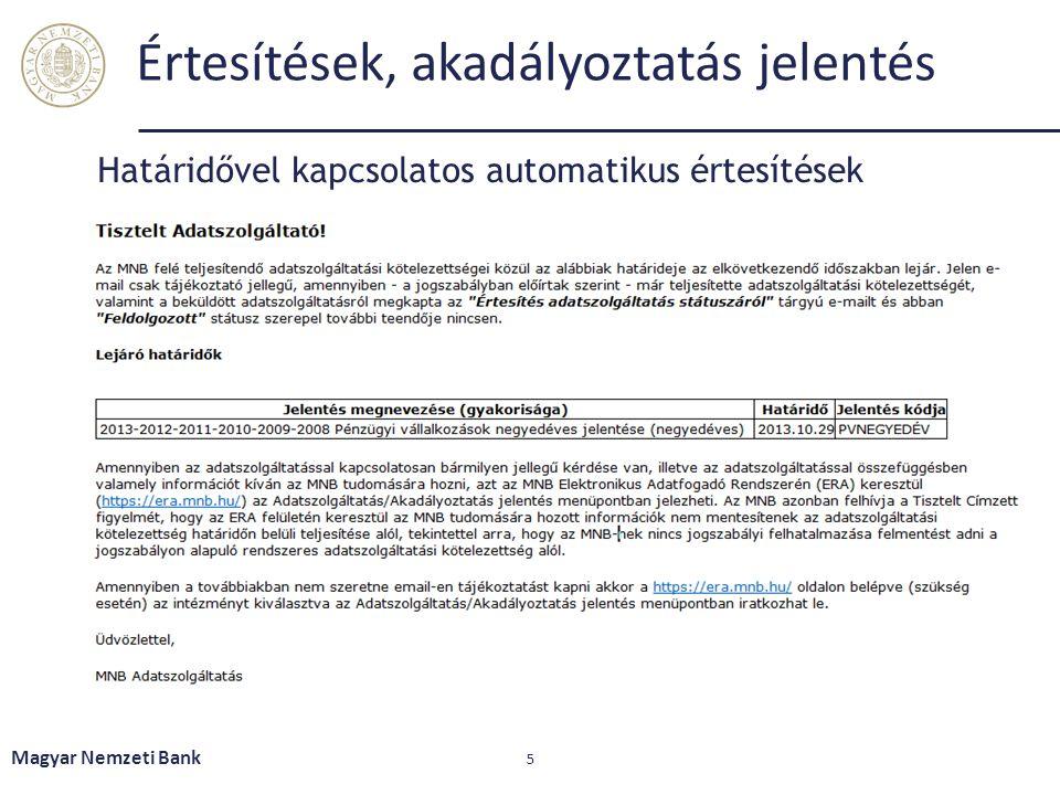 Akadályoztatás jelentés Magyar Nemzeti Bank 6