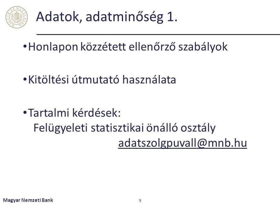 Adatok, adatminőség 1. • Honlapon közzétett ellenőrző szabályok • Kitöltési útmutató használata • Tartalmi kérdések: Felügyeleti statisztikai önálló o