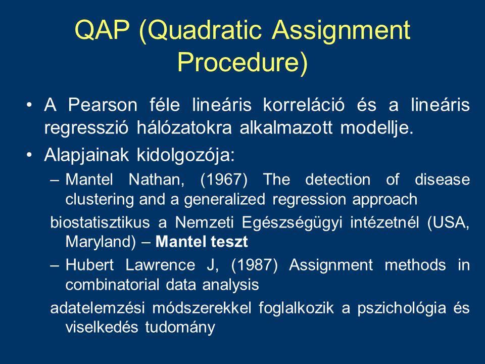 QAP korreláció •Két vagy több azonos szereplőket, azonos sorrendben tartalmazó teljes hálózat •A hálózatok diadikus kapcsolatait hasonlítja össze –Esetek száma: N=10 hálónál 10X10=100 eset vagy 90 eset •Korreláció számítása a két mátrix között (Qadratic Assigment Procedure) •Értelmezése: Hasonló a lineáris korrelációhoz.