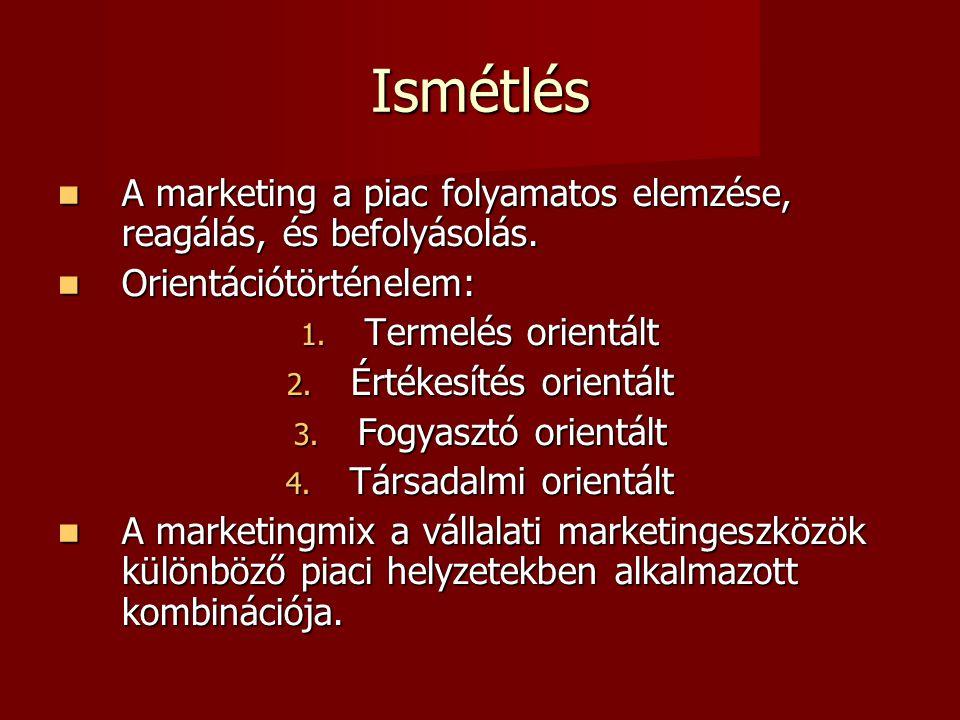 Ismétlés  A marketing a piac folyamatos elemzése, reagálás, és befolyásolás.
