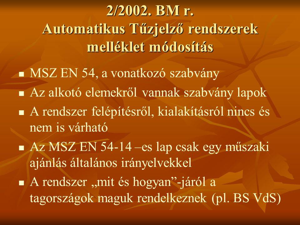 2/2002. BM r. Automatikus Tűzjelző rendszerek melléklet módosítás   MSZ EN 54, a vonatkozó szabvány   Az alkotó elemekről vannak szabvány lapok 