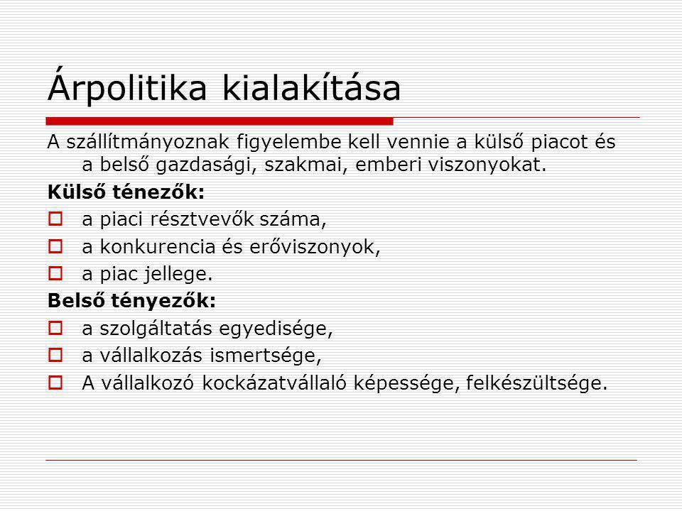 A fuvardíjak kialakításának módjai: 1.Tonnadíjas díjszabás : az áru raksúlya ill.