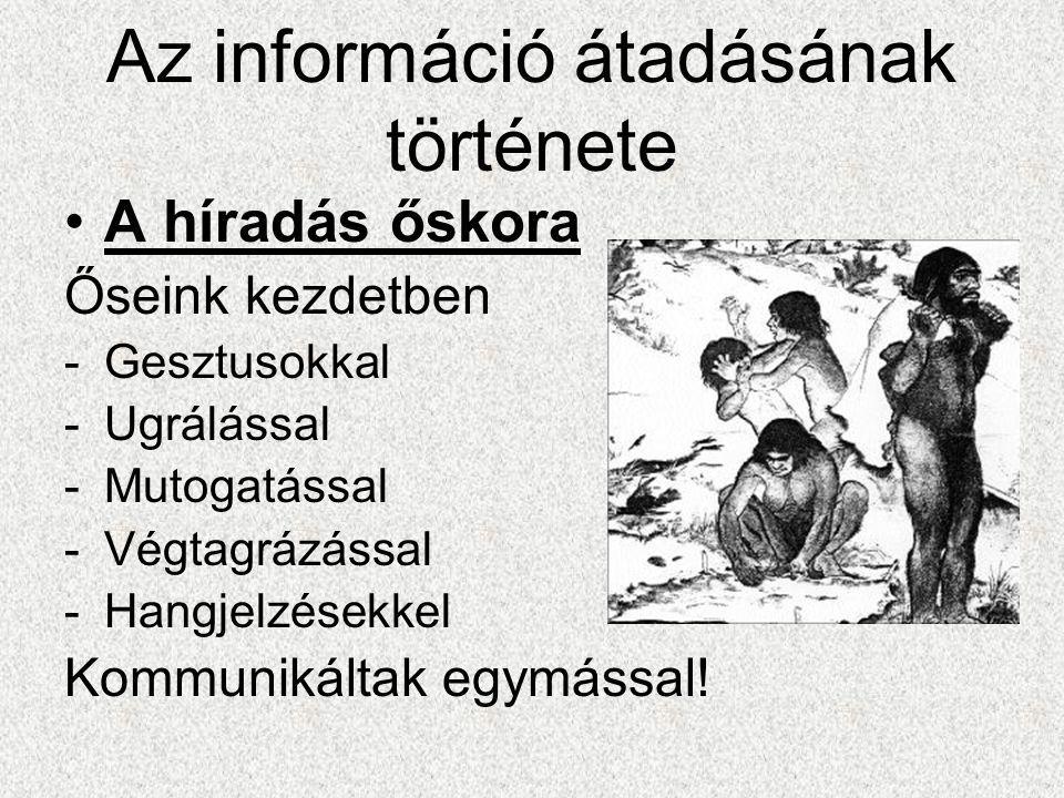 Az információ átadásának története •A híradás őskora Őseink kezdetben -Gesztusokkal -Ugrálással -Mutogatással -Végtagrázással -Hangjelzésekkel Kommunikáltak egymással!